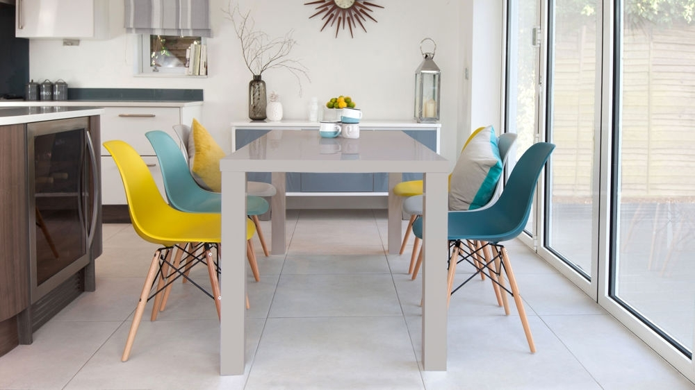 Widely Used 6 Seat Dining Tables And Chairs In Eames Chairs And Grey Gloss 6 Seater Dining Set (View 4 of 20)