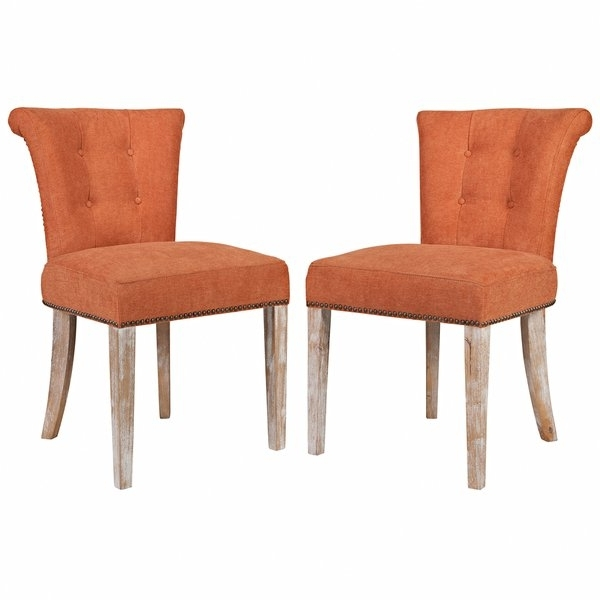 Widely Used Armless Oatmeal Dining Chairs Within Shop Better Living Orange Rust Velvet Upholstered Armless Dining (View 19 of 20)
