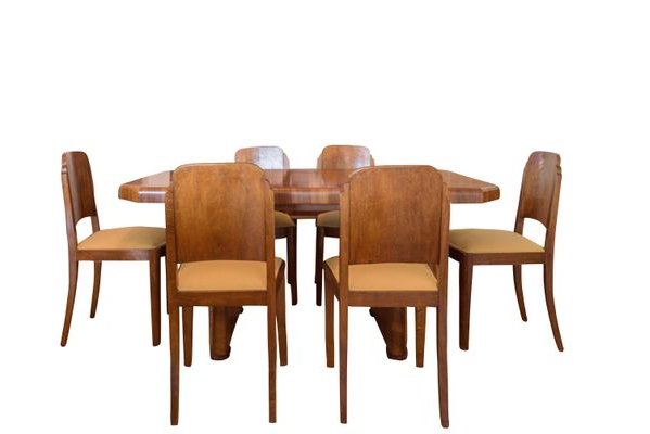 Widely Used Art Deco Walnut Dining Table & 6 Chairs, 1920S For Sale At Pamono Regarding Walnut Dining Tables And 6 Chairs (Gallery 16 of 20)