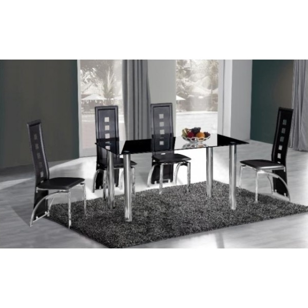 Widely Used Black Glass Dining Tables And 4 Chairs Pertaining To Cheap Crystal Black Glass Dining Table & 4 Chairs For Sale Online (View 5 of 20)