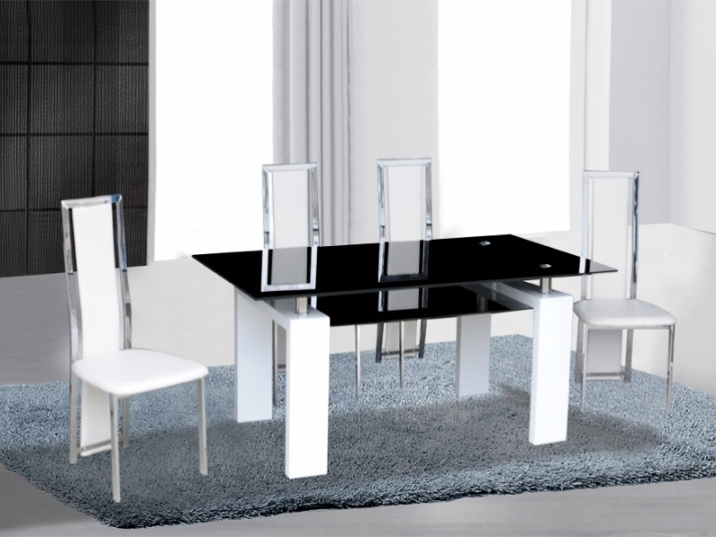 Widely Used Black/white High Gloss Glass Dining Table & 4 Chairs – Homegenies With Regard To White Gloss And Glass Dining Tables (Gallery 16 of 20)