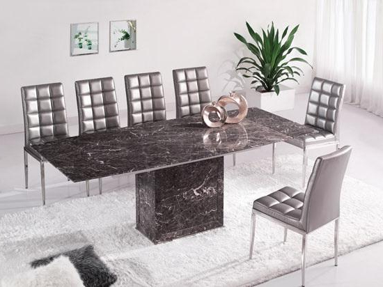 Widely Used Brown & Grey Extending Dining Table 6 Chairs (Marble) – Kk Furniture For Extending Marble Dining Tables (View 20 of 20)