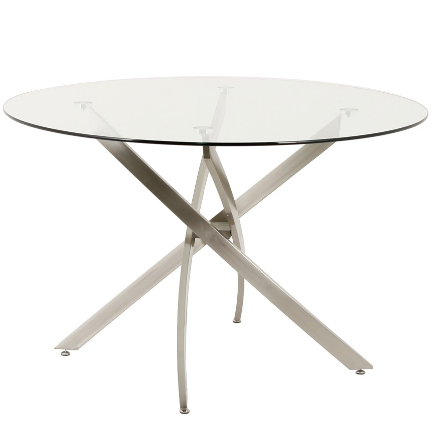 "Widely Used Brushed Metal Dining Tables Regarding Modern 48"" Round Glass Dining Table (View 20 of 20)"