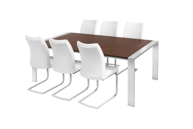 Widely Used Brushed Steel Dining Tables Throughout Walnut & Brushed Steel Dining Table & 6 Chairs (View 17 of 20)