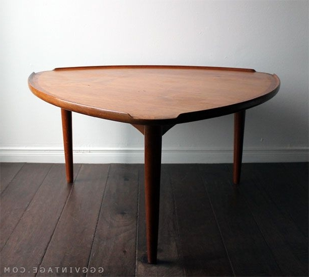 Widely Used Carly Triangle Tables Intended For Danish Mid Century Modern Teak 'guitar Pick' Triangular Shaped (View 20 of 20)