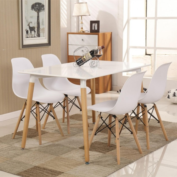 Widely Used Cassa Eames White Stylish Dining Set Of 4 (Square Table 120X60 Cm Throughout Dining Tables 120X (View 19 of 20)