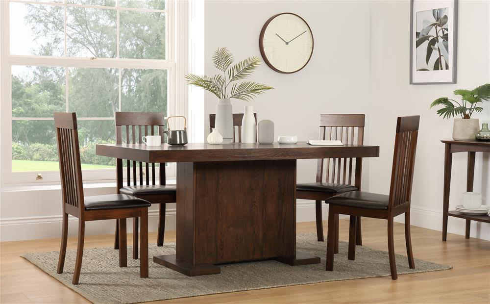 Widely Used Chilton 160cm Walnut Dining Table With 6 Oxford Chairs (brown Seat Regarding Walnut Dining Tables And 6 Chairs (View 18 of 20)