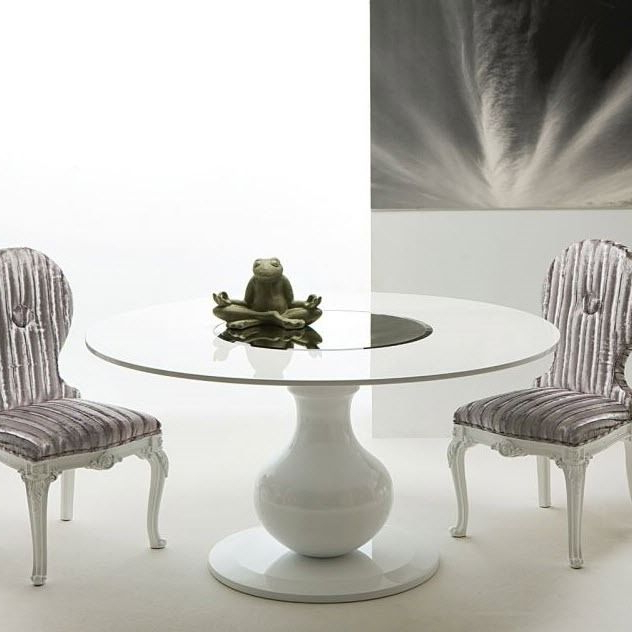 Widely Used Contemporary Dining Table / Lacquered Wood / Round / White – Elio Cr With Round White Dining Tables (View 16 of 20)