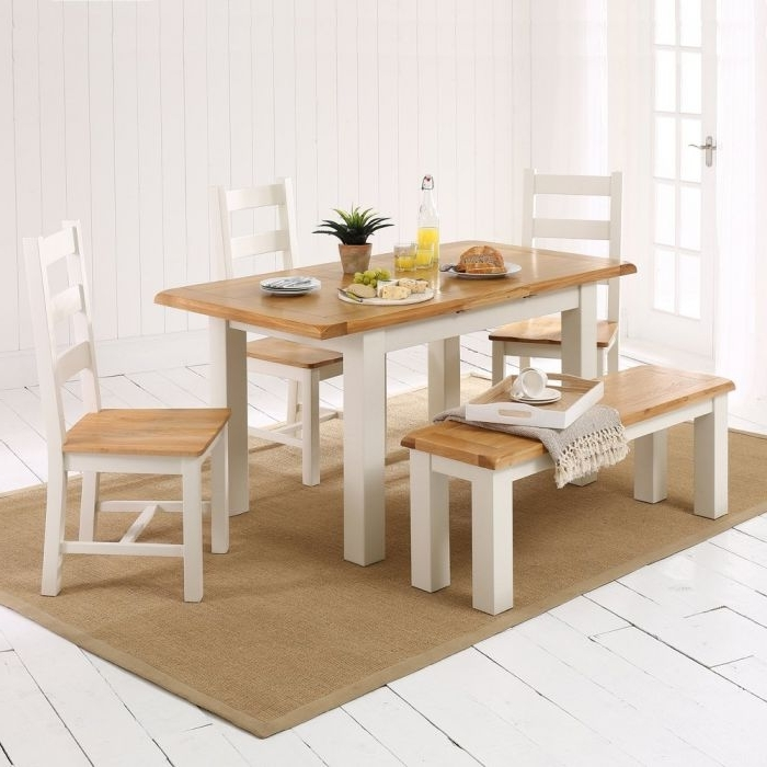 Widely Used Cotswold Dining Tables For Cotswold Cream Painted Small Dining Table + 3 Chairs + 1 Bench (View 20 of 20)