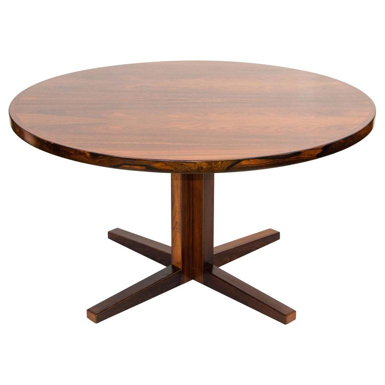 Widely Used Danish Dining Tables Within Danish Rosewood Round Pedestal Dining Table, One Leaf At 1stdibs (View 12 of 20)