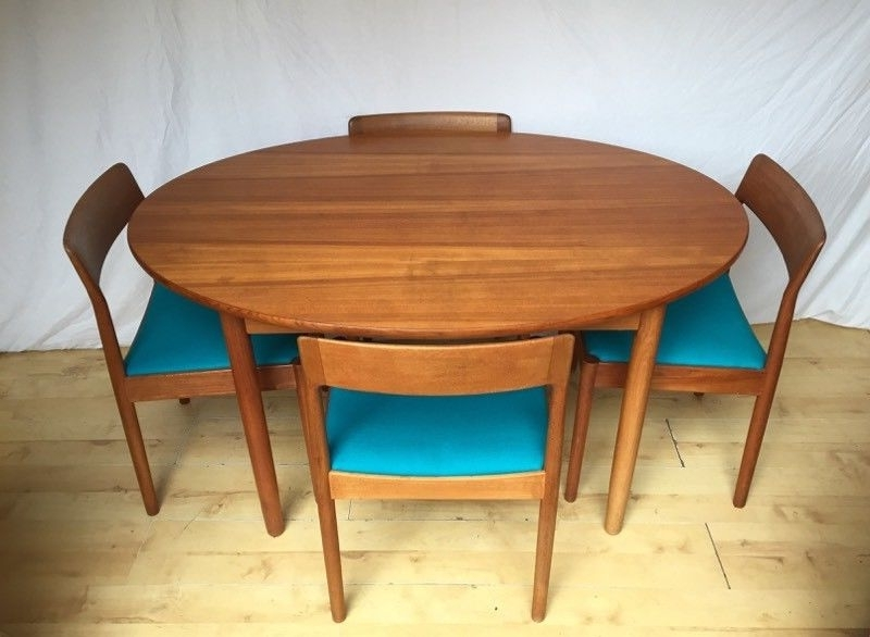Widely Used Danish Norgaards Teak Vintage Mid Century Oval Round Extending For Circular Extending Dining Tables And Chairs (View 19 of 20)