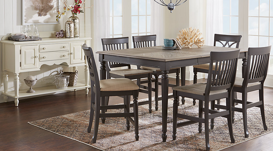 Widely Used Dining Room Sets Counter Height Within Cindy Crawford Home Ocean For Inside Crawford 7 Piece Rectangle Dining Sets (View 13 of 20)