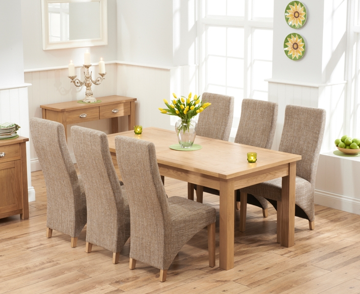 Widely Used Dining Tables And Fabric Chairs With Udine Solid Oak 180Cm Extending Dining Set With 6 Barrow Tweed (View 20 of 20)