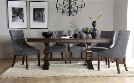 Widely Used Dining Tables Dark Wood Within Cavendish Dark Wood Extending Dining Table With 4 Bewley Silver (Gallery 6 of 20)