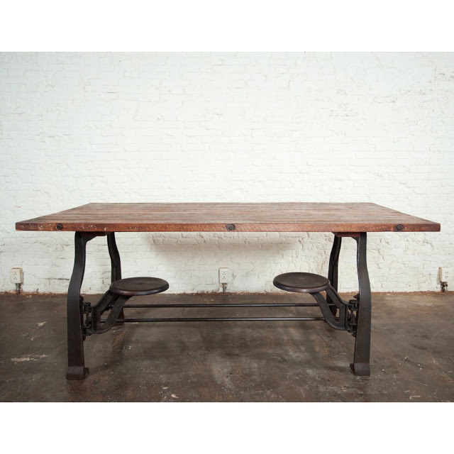 Widely Used Dining Tables With Attached Stools Regarding Nuevo V45 Reclaimed Wood Top Dining Table With Attached Stools (View 6 of 20)