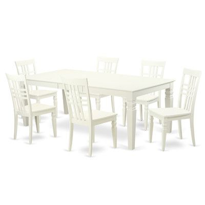 Widely Used East West Logan 7 Piece Dining Set Finish: Linen White (View 15 of 20)