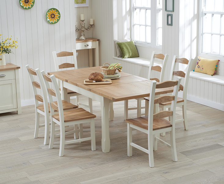 Widely Used Extended Dining Tables And Chairs Pertaining To Somerset 130cm Oak And Cream Extending Dining Table With Chairs (View 3 of 20)