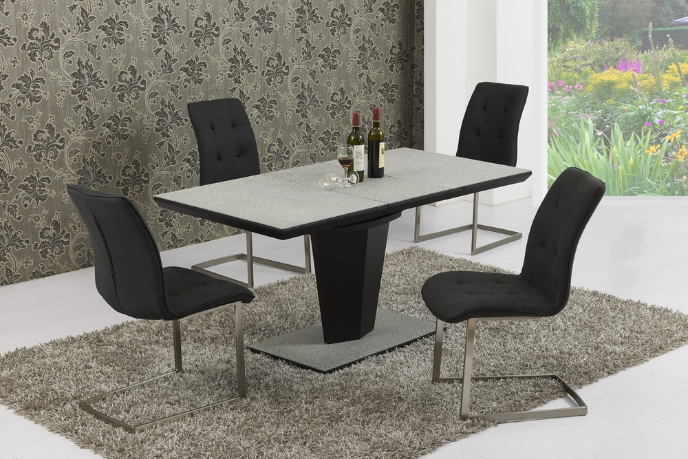 Widely Used Extending Glass Dining Tables And 8 Chairs Inside Large Extendable Grey Stone Effect Glass Dining Table & 8 Chairs (View 8 of 20)