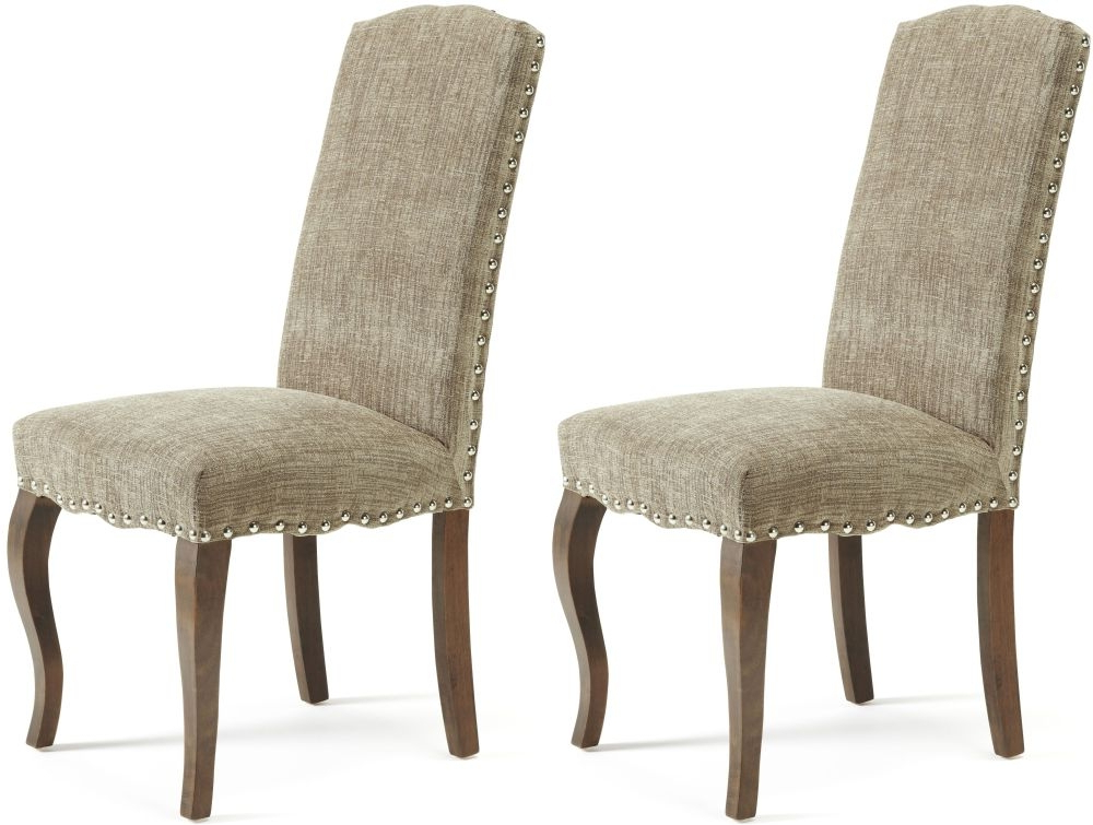 Widely Used Fabric Dining Chairs Pertaining To Florian Bark Fabric Dining Chair With Walnut Legs (Pair) (Gallery 14 of 20)
