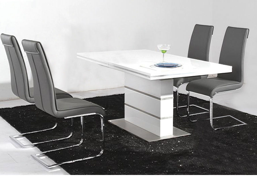 Widely Used Gloss Dining Tables And Chairs Intended For White High Gloss Dining Table And 4 Black Chairs Set – Homegeines (View 4 of 20)