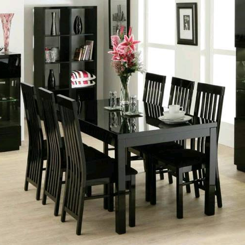 Widely Used Gloss Dining Tables And Chairs With Zone Furniture Black Gloss Dining Table And 6 Chairs (View 20 of 20)