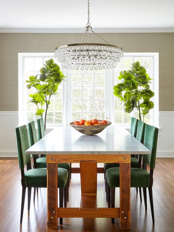 Widely Used Green Dining Tables In Emerald Green Dining Chairs With Marble Top Dining Table (View 20 of 20)