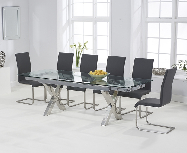 Widely Used Grey Glass Dining Tables For April Glass 160Cm Extending Dining Set With 6 Boston Grey Chairs (View 20 of 20)