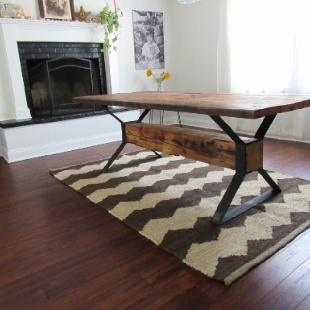 Widely Used Handmade Industrial Trestle Reclaimed Wood Dining Tablethe Urban For Cheap Reclaimed Wood Dining Tables (View 9 of 20)