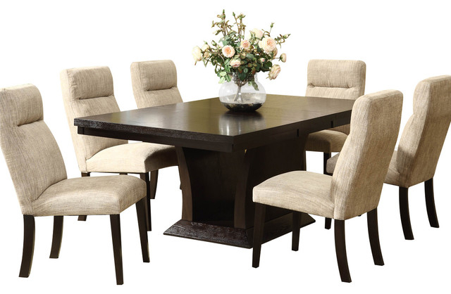 Widely Used Homelegance Avery 7 Piece Pedestal Dining Room Set In Espresso Within Walden 9 Piece Extension Dining Sets (View 18 of 20)