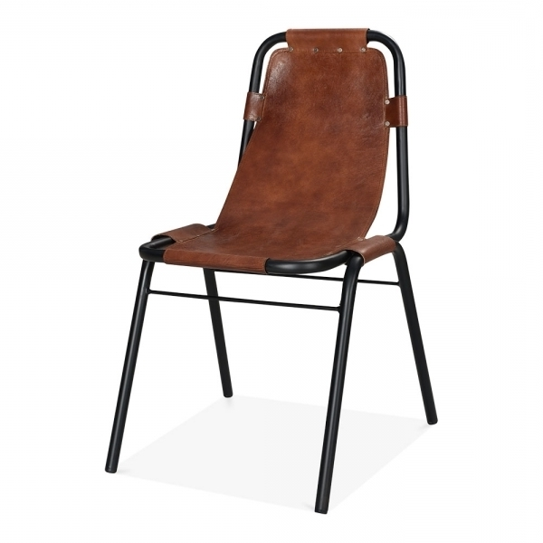 Widely Used Industrial Brown Leather Dining Chair – Heyl Interiors In Brown Leather Dining Chairs (View 9 of 20)