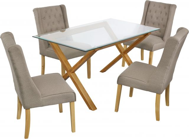 Widely Used Lpd Furniture Cadiz Solid Oak & Glass Dining Table With Veronica Throughout Oak And Glass Dining Tables And Chairs (View 19 of 20)