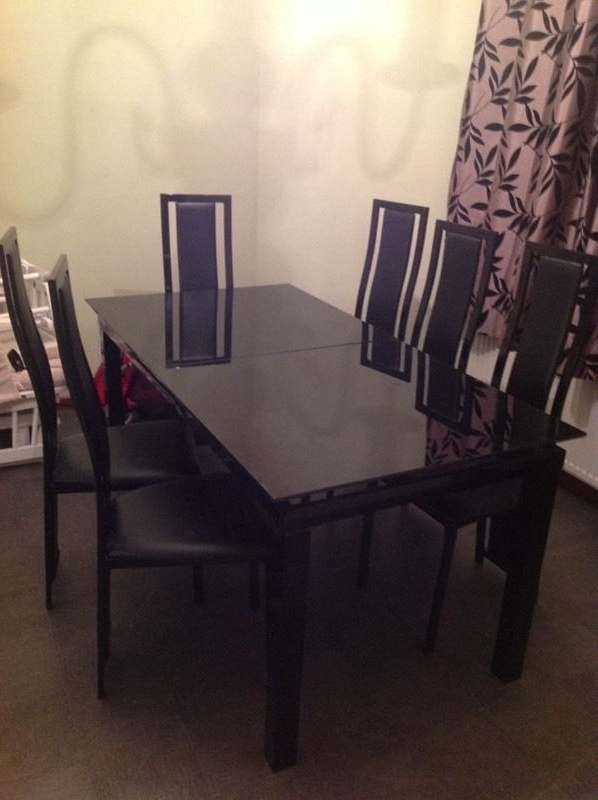 Widely Used Must Go! Harvey Black Glass 'noir' Extending Dining Table And 6 In Black Glass Extending Dining Tables 6 Chairs (View 20 of 20)