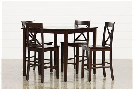 Widely Used Rocco 8 Piece Extension Counter Sets Throughout 5 Piece Counter Set, Pierce, Espresso, Kitchen & Dining Furniture (View 20 of 20)