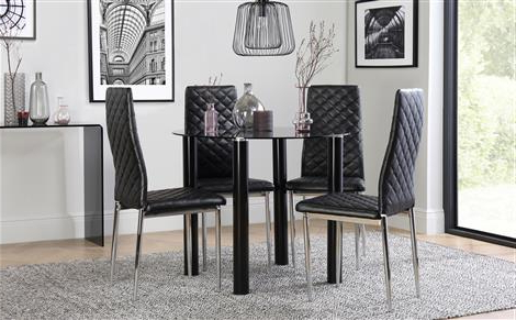 Widely Used Round Black Glass Dining Tables And 4 Chairs For Solar Round Black Glass Dining Table With 4 Renzo Black Chairs (View 19 of 20)
