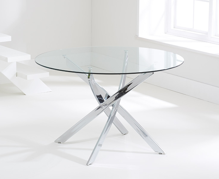 Widely Used Round Black Glass Dining Tables And 4 Chairs Inside Buy Mark Harris Daytona Glass Round Dining Table – 110Cm Online – Cfs Uk (View 20 of 20)