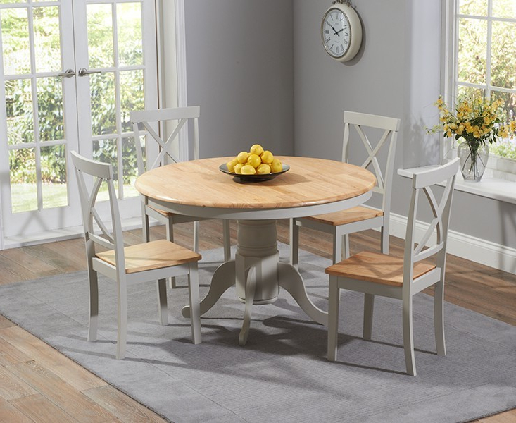 Widely Used Round Oak Dining Tables And 4 Chairs Within Elstree 120Cm Painted Oak & Grey Round Dining Table + 4 Chairs (View 20 of 20)