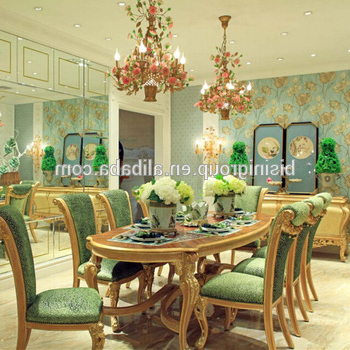 Widely Used Royal Dining Tables In Bisini New Arrival Luxury Golden Dining Table With Green Velvet (View 11 of 20)
