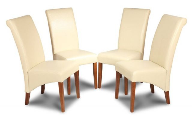 Widely Used Set Of 4 Cream Dining Chairs Made With Real Leather Intended For Cream Leather Dining Chairs (View 20 of 20)
