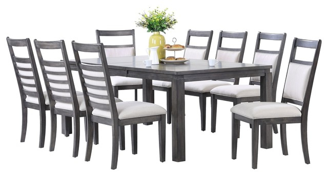 Widely Used Shades Of Gray 9 Piece Dining Set – Transitional – Dining Sets – With Walden 9 Piece Extension Dining Sets (View 19 of 20)