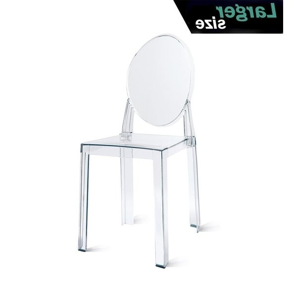 Widely Used Shop 2Xhome – Large – Clear Plastic Armless Side Chair Acrylic With Burton Metal Side Chairs With Wooden Seat (View 20 of 20)