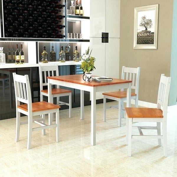 Widely Used Small Wood Dining Table And Chairs Solid Room Furniture All Black Intended For Helms 5 Piece Round Dining Sets With Side Chairs (View 14 of 20)