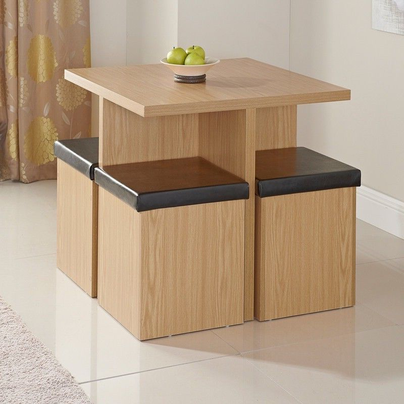 Widely Used Stowaway Dining Tables And Chairs For Stowaway Dining Set – Table & 4 Storage Stools – Fantastic For Small (View 7 of 20)