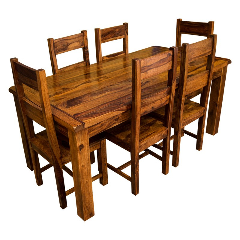 Wood Dining Tables And 6 Chairs Pertaining To Famous Samri Sheesham Dining Table & Six Chairs – Solid Sheesham Wood (View 20 of 20)
