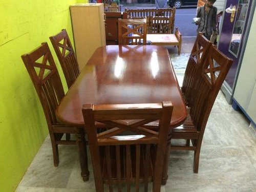 Wood Dining Tables And 6 Chairs Pertaining To Most Current Teak Wood Dining Table Set With 6 Chairs At Rs 28000 /piece(S (View 18 of 20)