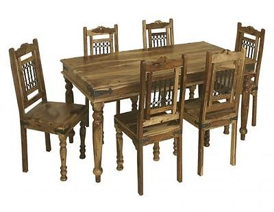 Wood Dining Tables And 6 Chairs Within Most Recent Bali 175cm Dining Table And Set Of 6 Chairs Indian Wood Furniture (View 3 of 20)