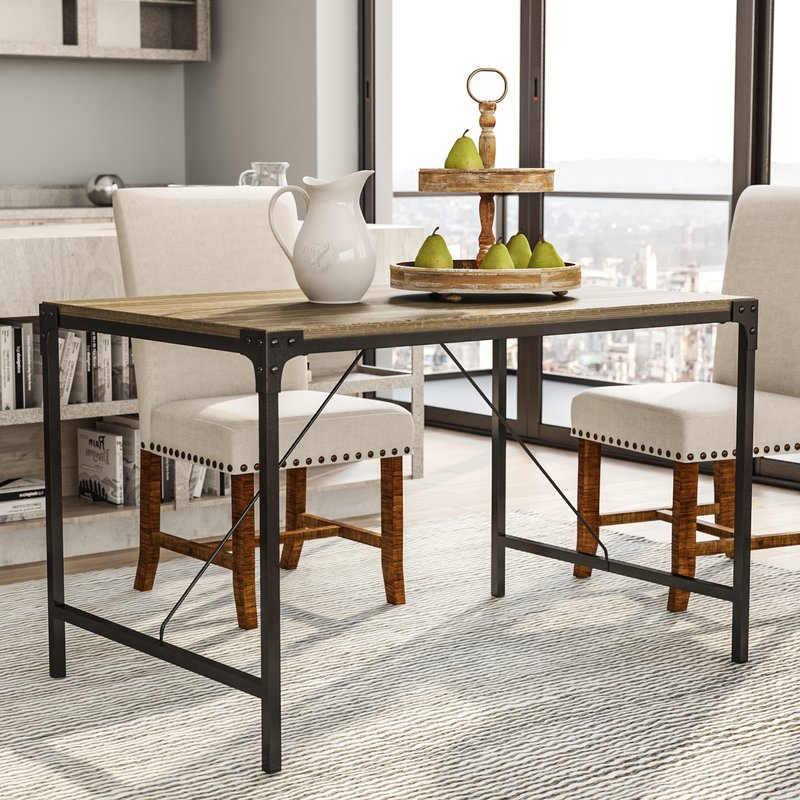 Wood Dining Tables Pertaining To Current Laurel Foundry Modern Farmhouse Madeline Angle Iron And Wood Dining (View 19 of 20)