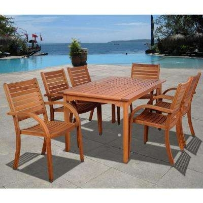Wood Patio Furniture – Amazonia – Patio Furniture – Outdoors – The Regarding Widely Used Caira 9 Piece Extension Dining Sets (View 20 of 20)