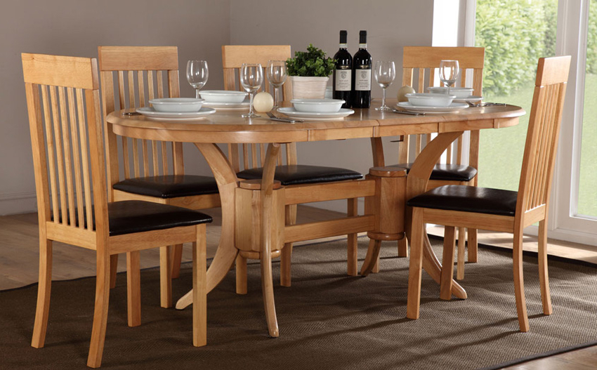 Wood Set Oval Extending Table With 6 Folding Chair (View 20 of 20)
