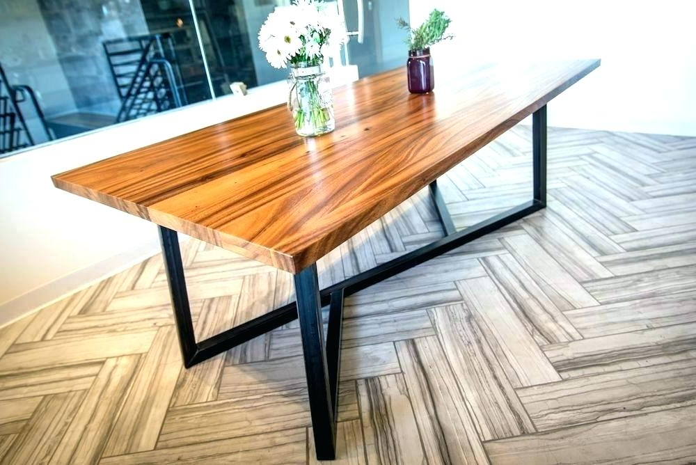 Wood Top Metal Base Dining Table Dining Table Metal Legs Wood Top Pertaining To Current Dining Tables With Metal Legs Wood Top (View 2 of 20)