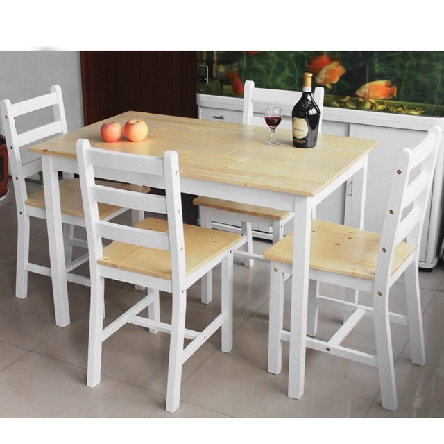 Wooden Dining Set One Table With 4pcs/lot Dining Chair White Natural Inside Most Recent Pine Wood White Dining Chairs (View 19 of 20)